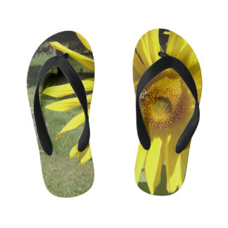 Toddlers Sunflower with Bee Flip Flops