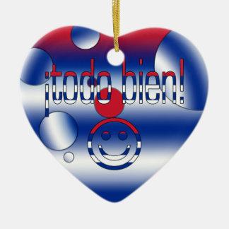 ¡Todo Bien! Cuba Flag Colors Pop Art Ceramic Heart Decoration