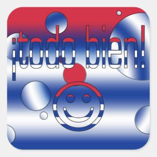 ¡Todo Bien! Cuba Flag Colors Pop Art Square Stickers