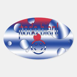 ¡Todo Bien! Cuba Flag Colors Pop Art Oval Sticker