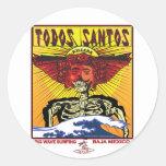 TODOS SANTOS BAJA MEXICO SURFING ROUND STICKERS