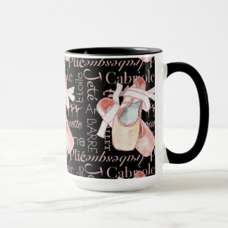 Toe Shoes Ballerina Ballet Art Black Coffee Mug