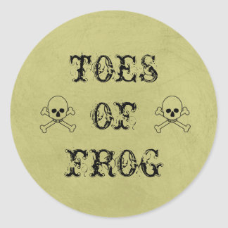 Toes Of Frog Label Witch's Brew Halloween Prop Round Sticker