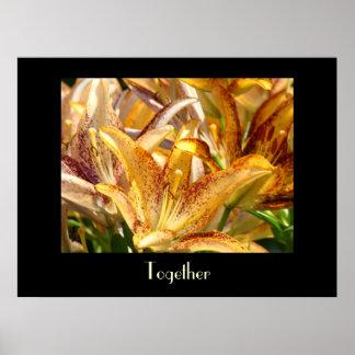 Together art prints Orange Lily Flowers Floral art Poster