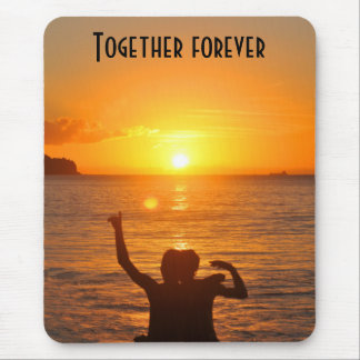 Together forever at sunset mouse mat