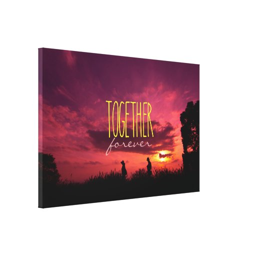 Together Forever Couple on Lavender Field Sunset Gallery Wrap Canvas