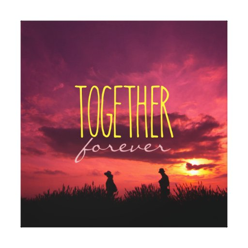 Together Forever Couple on Lavender Field Sunset Stretched Canvas Print