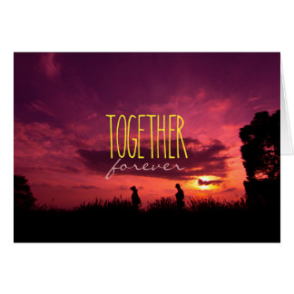 Together Forever Couple on Lavender Field Sunset Cards