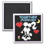 Together Forever-valentine couple stick figures Square Magnet