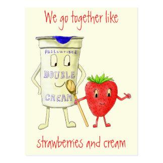 Together like Strawberry & Cream Funny Art Slogan Postcard