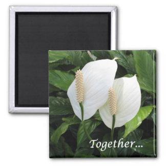 """Together"" spathiphyllum on a magnet! Square Magnet"