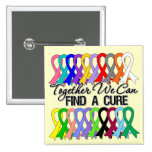 Together We Can Find a Cure Cancer Ribbons Buttons