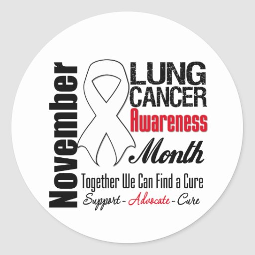 Together We Can Find a Cure - Lung Cancer Month Round Stickers