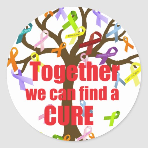 Together we can find a CURE Round Stickers