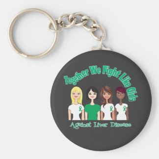Together We Fight Like Girls Liver Disease Keychain