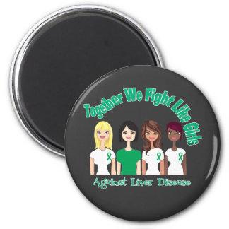 Together We Fight Like Girls Liver Disease Fridge Magnet