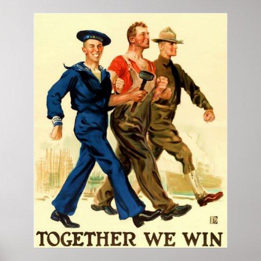 Together We Win ~ Vintage World War 1. Poster