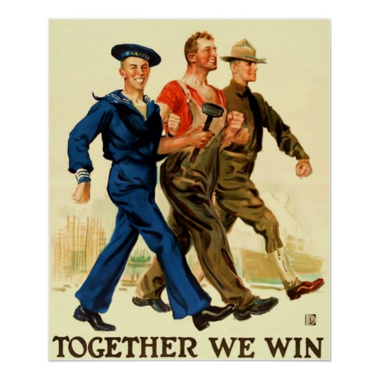Together We Win ~ Vintage World War 1. Poster