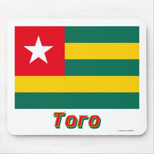 Togo Flag with name in Russian Mousepads