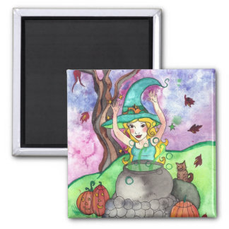 Toil and trouble halloween witch magnets
