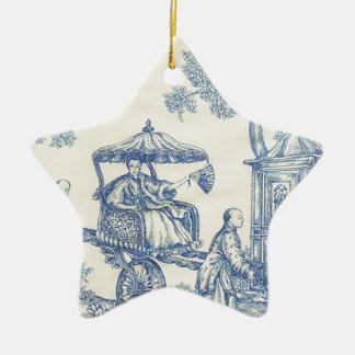 Toile in Blue & White Ceramic Star Decoration