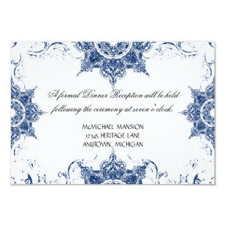 Toile Navy n White Damask Swirl Wedding Reception Card