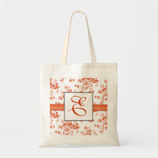 Toile Red Roses Monogram Bridesmaid Tote