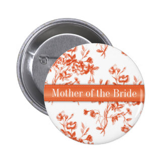 Toile Red Roses Wedding Rehearsal Button