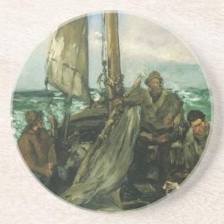 Toilers of the Sea by Manet, Vintage Impressionism Beverage Coasters