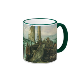 Toilers of the Sea by Manet, Vintage Impressionism Ringer Mug