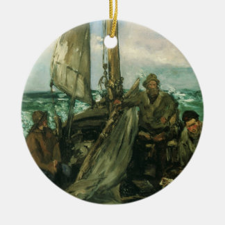 Toilers of the Sea by Manet, Vintage Impressionism Round Ceramic Decoration