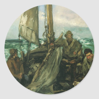 Toilers of the Sea by Manet, Vintage Impressionism Round Sticker