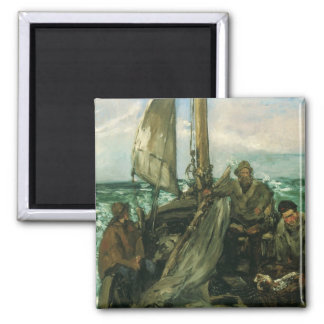 Toilers of the Sea by Manet, Vintage Impressionism Square Magnet