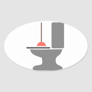 Toilet and Plunger Oval Sticker