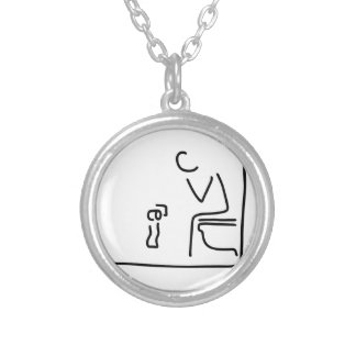 toilet digesting attraction intestine round pendant necklace
