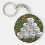 Toilet Paper Bowling Basic Round Button Key Ring