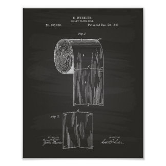 Toilet Paper Roll 1891 Patent Art - Chalkboard Poster