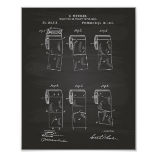 Toilet Paper Roll 1891 Patent Art Chalkboard Poster