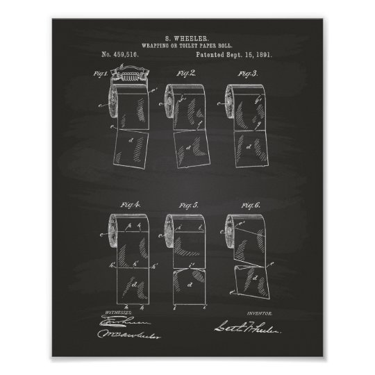 Toilet Paper Roll 1891 Patent Art Chalkboard Poster
