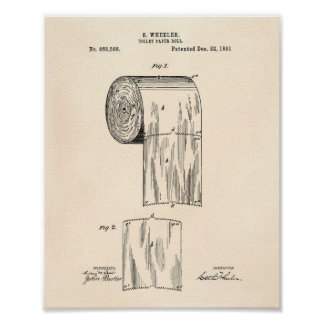 Toilet Paper Roll 1891 Patent Art - Old Peper Poster