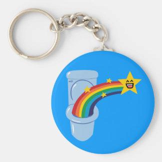 Toilet Rainbow Basic Round Button Key Ring