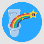 Toilet Rainbow Round Sticker