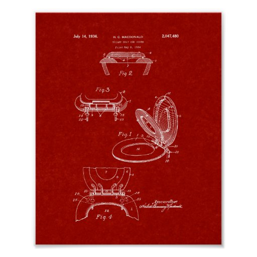 Toilet Seat And Cover Patent - Burgundy Red Poster