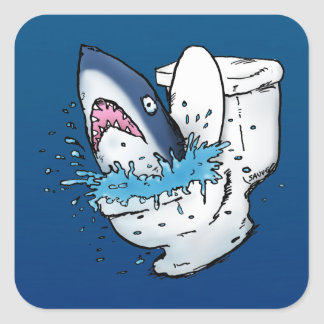 Toilet Shark Funny Blue Cartoon Square Sticker