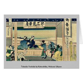 Tokaido Yoshida by Katsushika, Hokusai Ukiyoe Greeting Card