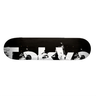 Tokyo - Cool Urban Style In Worn Black And White 21.3 Cm Mini Skateboard Deck