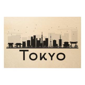 Tokyo, Japan | Black & White City Skyline Wood Print