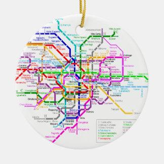 Tokyo Japan Subway Map Christmas Ornament