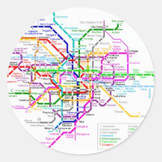 Tokyo Japan Subway Map Classic Round Sticker
