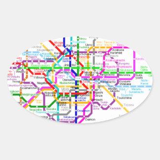 Tokyo Japan Subway Map Oval Sticker